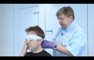 First aid video eye pad